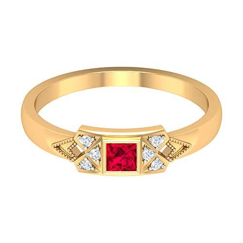 Rosec Jewels 14 quilates oro amarillo round-brilliant-shape princess-shape H-I Red Diamond Ruby