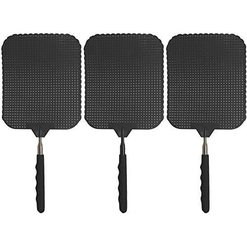 marion10020 Fliegenklatsche Fliegen-Klatsche Klatsche XXL, ausziehbar von 34 cm bis 76 cm, Schlagfläche 19 x 16 cm, schwarz, 3er-Set