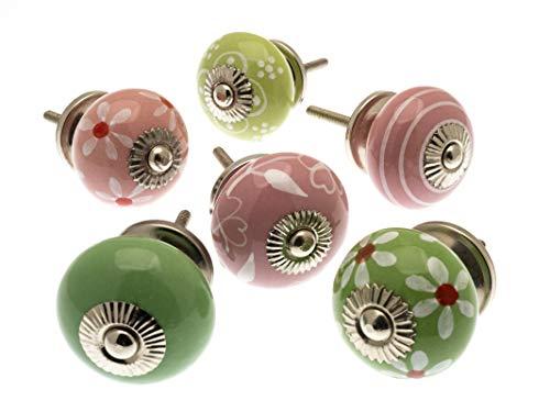 Mango Tree - Set di 6 pomelli misti per credenza, in ceramica stile vintage e shabby chic, colore: verde mela e rosa pallido