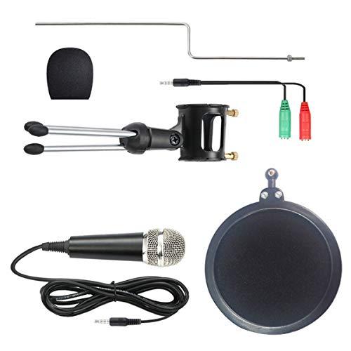 Nicoone Micrófono de teléfono móvil 3. 5mm Jack micrófono de condensador con filtro trípode soporte para computadora PC teléfono móvil cantando podcasting grabación de voz