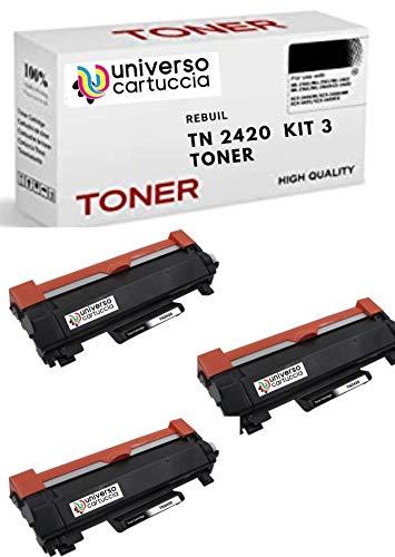 UniversoCartuccia® KIT 3 Toner Compatibile TN2420 CON CHIP da 3.000 cooie per Brother HL-L2310D; HL-L2350DW ;MFC-L2710DW; MFC-L2710DN; DCP-L2530DW; HL-L2370DN ;MFC-L2730DW; MFC-L2750DW