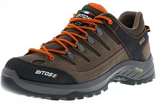 LYTOS Damen Herren Wanderschuhe Trekkingschuhe Vibram-Sohle braun/orange, Größe:43, Farbe:Braun