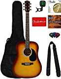 Fender Squier Dreadnought Acoustic Guitar - Sunburst Bundle with Fender Play Online Lessons, Gig...