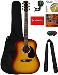 """Full-size steel-string acoustic that offers big sound at a small price All-laminate construction with lindenwood top and mahogany back and sides Scalloped """"X""""-bracing, mahogany neck and a durable dark-stained maple fingerboard Slim, easy-to-play neck..."""