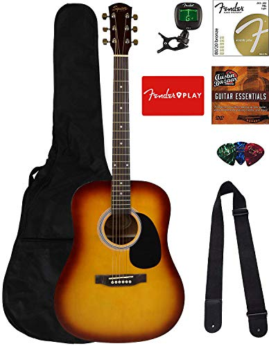 Fender Squier Dreadnought Acoustic Guitar - Sunburst Bundle with Fender Play Online Lessons, Gig Bag, Tuner, Strings, Strap, Picks, and Austin Bazaar Instructional DVD