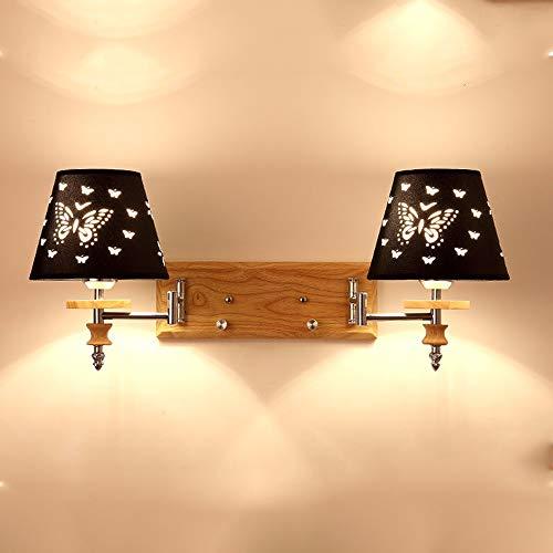 BDwantan Lámpara de pared negra Nordic Simple American Mirror Faros LED Iluminación Negra Estilo Mariposa Tela de Iluminación Metal Dos Cabeza Doble Cabeza Tamaño L