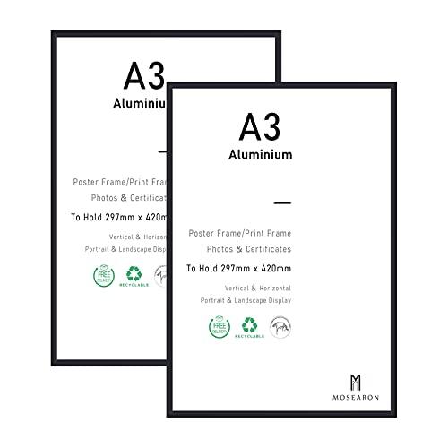 Marco de fotos con certificado A3, 2 unidades, negro con plexiglás para montaje en pared, 29,7 x 42 cm, juego de 2