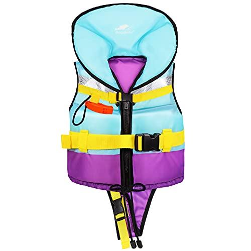 Gogokids Chaleco de Natación para Niños Niñas - Chaleco de Baño Traje de Baño de Flotación Chaqueta de Baño de Flotabilidad Ajustable con Reposacabezas, 2-7 años