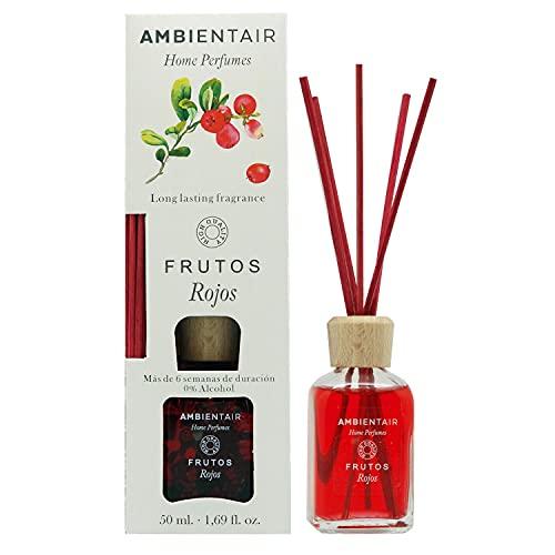 Ambientair Home Perfumes. Difusor de Varillas perfumadas. Ambientador Mikado Frutos Rojos. Difusor 50 ml con palitos de ratán. Ambientador sin Alcohol para casa.