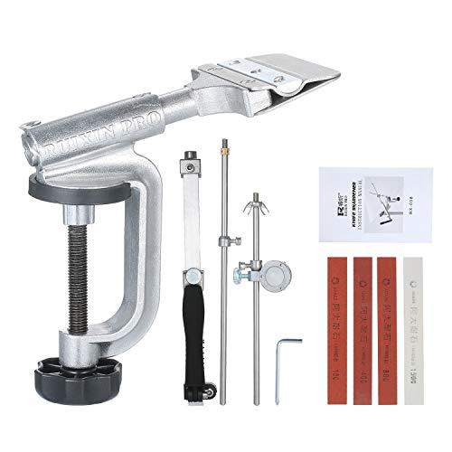 KKmoon Festwinkel Messerschärfer,Messer Schärfset Slicker Edge Sharpener Schleife Haltesystem mit 4 Schleifsteinen(180#, 400#, 800#, 1500#)