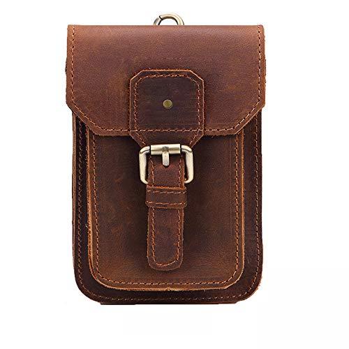 Herren Rindsleder Gürteltasche Hüfttasche, Morbuy Leder Bauchtasche Männer Freizeit Universal Handy Tasche mit Gürtel Schlaufe (Schwarz, Klein)