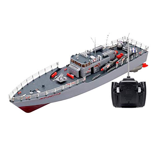 Modelo de Barco RC Misil Buque de Guerra Radio Control Remoto Barco Acorazado Crucero, Barco a Control Remoto Lancha rápida Niños Carga de Juguete Barco Mod inalámbrico Grande