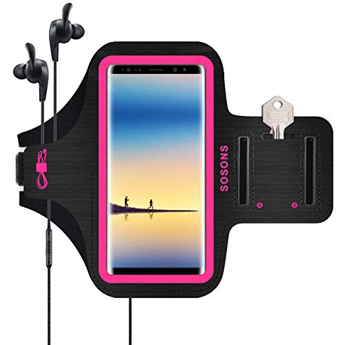 Samsung Galaxy Note 8/9/10+,Galaxy S10/S9/S8 Plus Armband,SOSONS Water Resistant Sports Gym Armband Case for Galaxy Note 10/9/8,Galaxy S10/S9/S8 Plus,with Card Pockets and Key Slot