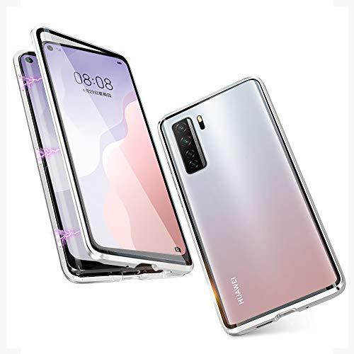 JoiHülle R&um Hülle für Huawei P40 Lite 5G Magnetische Adsorption Handyhülle 360 Grad Schutzhülle Stark Magneten Aluminiumrahmen Gehärtetes Glas Stoßfest Metall Flip Cover, Silber