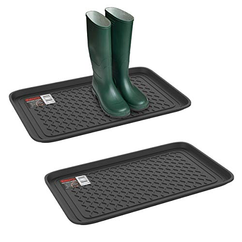 Stalwart 75-ST6103 Weather Boot Tray-Medium Water Resistant Plastic Utility Shoe Mat for Indoor and Outdoor Use in All Seasons (Set of Two, Dark Grey), Pack