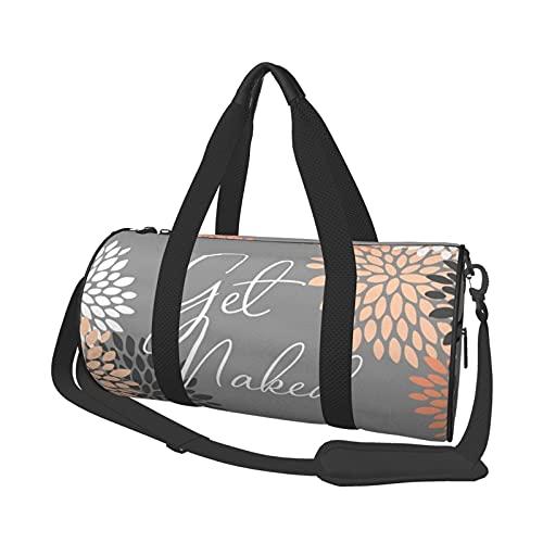 Get Naked Floral Bloom Coral Gray Sport Gym Bolsa de viaje para hombres y mujeres pequeña bolsa de viaje para deportes, gimnasios y escapada de fin de semana