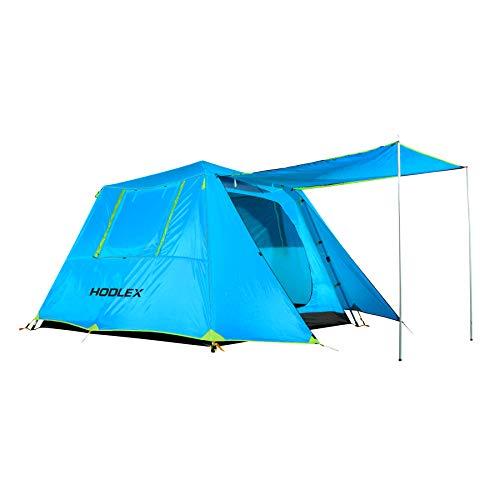 HODLEX Camping Pop-up Zelt 4-6 Personen Wasserdichtes Zelt Doppellagiges Sofortkabinenzelt Sonnenschutz, automatischer Aluminiumstange Grau