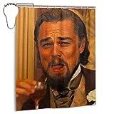 CANMA Leonardo Dicaprio Laughing Meme Duschvorhänge Wasserdichter Duschvorhang für Badezimmer mit Haken Hochleistungs-Badvorhang aus Stoff
