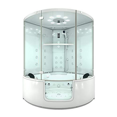 AcquaVapore DTP60-140-WS-TH Whirlpool Wanne mit Tür Sauna Dusche Duschkabine 140x140cm OHNE 2K-Scheibenversiegelung OHNE aktive Schlauchreinigung