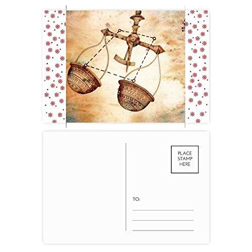 September Oktober Weegschaal sterrenbeeld Zodiac Kerstmis Bloem Postkaart Thanks Card Mailing 20 stks