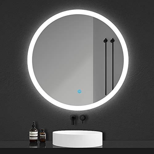 Xinyang Miroir Rond Lumineux pour Salle de Bain à LED avec éclairage Tactile Anti-buée Blanc Froid Ø 60 cm