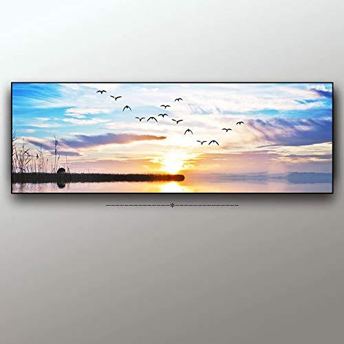 N / A Wohnzimmer Dekoration von Sonnenuntergang natürliche Seelandschaft Vogel Malerei Leinwand Malerei Poster und Foto Wandmalerei Rahmenlos 30x100cm