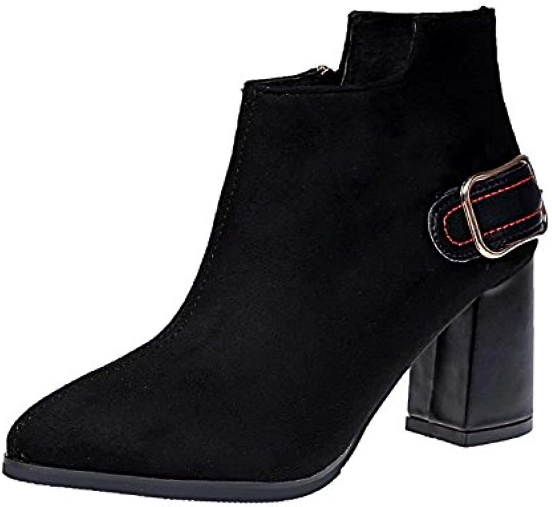 WYMBS Women's Autumn Winter Rough With Metal Belt Short Boots,Black,38