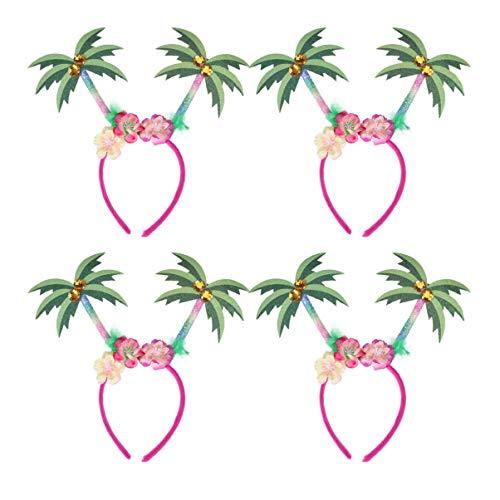 NUOBESTY 4Pcs Hawaii Party Kopf Bopper Kokospalme Haar Reifen Blume Stirnband Kopfbedeckung Foto Requisiten für Sommer Luna Party Gefälligkeiten (Zufällig)