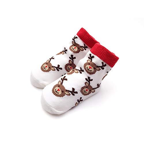 mxdmai 1 Paar Neugeborenes Baby Weihnachten Socken Baumwolle Kleinkind Elch Socken Warme Baby Socken (0-12 Monate)
