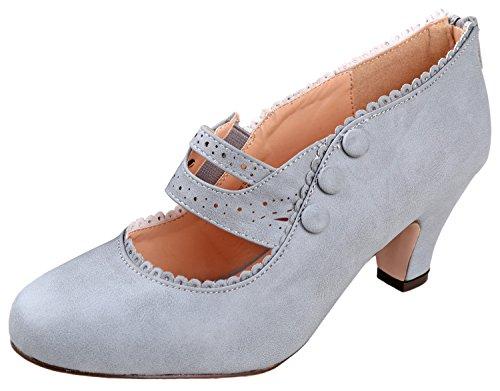 Chase & Chloe Womens Mina4 Closed Toe Mary Jane High Heel Shoes,Grey,5.5
