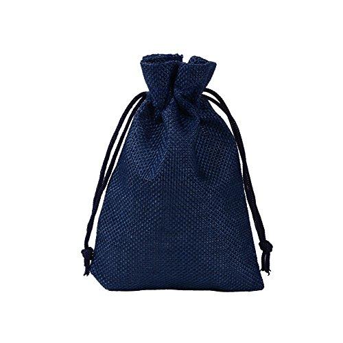 CLTPY 20 Pezzi Sacchetto di Iuta Drawstring Jute Bag Sacchetti Regalo per Natalizie DIY Craft Matrimonio Favore 10x14cm/3,5x4,7in (Blu Navy)