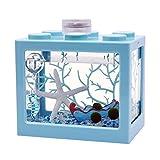 XIAOSAKU Tanque de Peces Escritorio Creativo Transparente Mini Betta Tanque de Fish Tank Oficina de Peces Ornamentales Pequeño Tanque de Peces Pequeños con Funda Sala de Estar Pequeño Cuenco de Peces