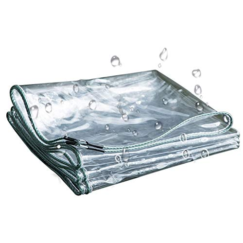 GYOWEI Tarpaulin, Heavy Weatherproof Tarp, Transparen Plant Covers for Truck Garden Camping, Customizable, 600GSM (Color : Clear, Size : 3.9 x4.9m)