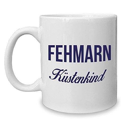 Shirt Department - Kaffeebecher - Tasse - Fehmarn Küstenkind Weiss-dunkelblau