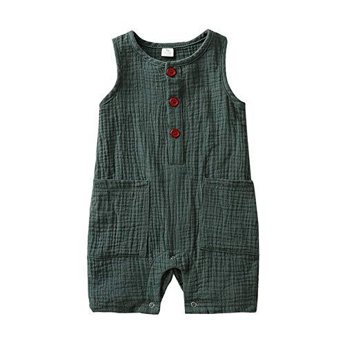 Hongyuangl Baumwolle und Leinen Jumpsuit Hose Latzhose Baby Girl Boy Ärmellose Strampler Sommerkleidung