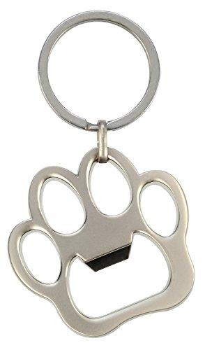 HappyGifts Schlüsselanhänger Flaschenöffner Pfote aus Metall - Hunde oder Katze