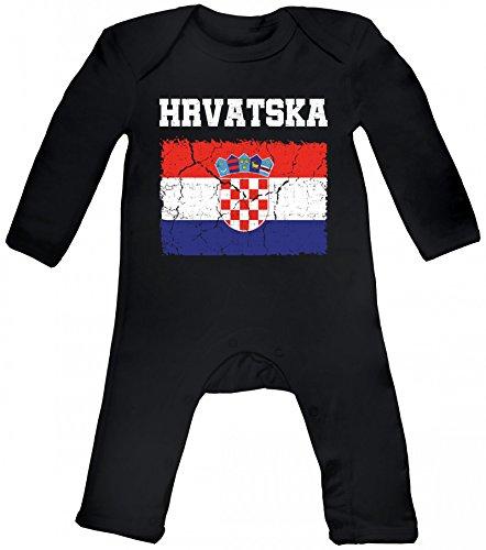 Croatia Kroatien Fußball WM Fanfest Gruppen Baby Strampler Langarm Schlafanzug Jungen Mädchen Wappen Hrvatska, Größe: 3-6 Monate,Black