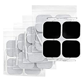 AUVON TENS Unit Pads 2X2 20 Pcs, 3rd Gen Latex-Free Replacement Pads Electrode Patches with Upgraded Self-Stick Performance and Non-Irritating Design for Electrotherapy 12 Huge 20-Piece Set. We're always looking for new ways to bring our customers incredible value! When you shop with us, you'll receive 20 electrode pads in this jumbo pack. Each one is flexible and soft to the touch, helping you get the most from your TENS machine or EMS. They also feature gray cloth backing for durability and re-sealable packaging for a longer lifespan. Trusted Quality. Low impedance solid electrode gel is made by upgraded industry leading American adhesive, which can provide excellent self-adhesive performance and easy clean up for maximum 45 uses. Our medical grade reusable electrodes are latex-free and non-irritating to ensure users of all skin types have a safe, comfortable experience. Universal Compatibility. Standard 2mm connector TENS electrodes pads are classic and commonly used in medical area, which makes it easier for you to find compatible TENS unit muscle stimulator & accessories.