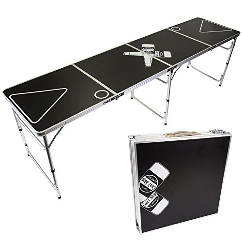 CAN'T STOP PARTY SUPPLIES Portable Tailgating Beer Pong Table Easily Foldable w/Adjustable Height Options - Beer Botle Design