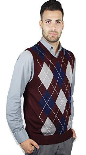 Blue Ocean Men's Retro Argyle Sweater Vest-Large Burgundy