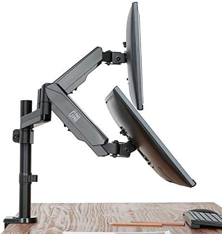 G-Pack Pro 11 Dual Arm Monitor Stand (Universal) PC Computer Riser Screen Mount | Adjustable Tilt, Rotation, Swivel Viewing | Clamp & Grommet Base | Home, Office, Desk