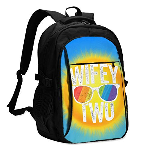 Wife Two Lesbian Pride Graphic Backpack with USB Port College School Travel Bag for Kids Teens and Adult 15'' Laptop