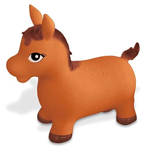 Mondo-9689 Mondo Toys-Horse Ride-On cavalcabile per Bambini-Cavallo Gonfiabile da Cavalcare-Animale saltellante-Alta qualità-09689, Colore Marrone, 9689