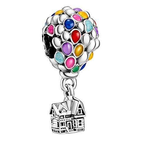 EZ Tuxedo Abalorio de bola de aire caliente de Disney Up House, compatible con pulseras Pandora para mujer, plata de ley 925, cuentas de joyería para niñas, regalo para mujer y collar