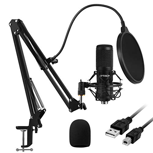 USB Condenser Microphone, EPTISON 192kHZ/24bit Professional PC Streaming Podcast Cardioid Microphone Kit with Boom Arm, Shock Mount, Pop Filter, for Recording, Gaming, YouTube, Voice Over, Meeting