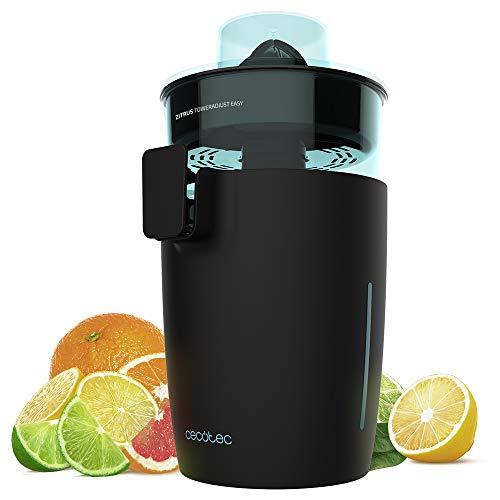 Cecotec exprimidor eléctrico Zitrus TowerAdjust Easy. Potencia 350 W,Filtro regulador de Pulpa,2 Conos Desmontables de Diferente tamaño, Tambor Libre de BPA, Capacidad de 0,5 L (Negro)