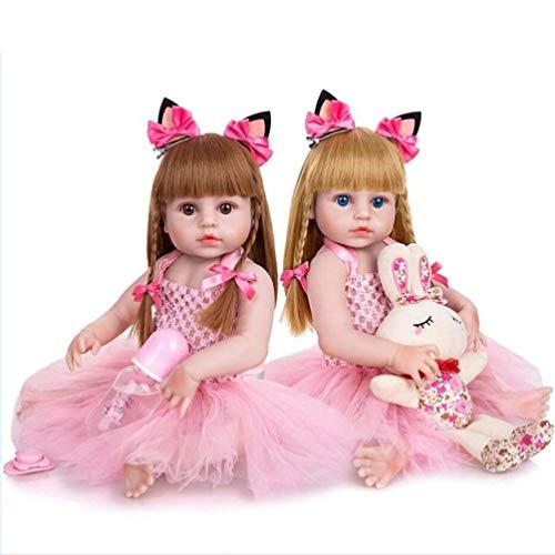 Muñecas Reborn De 19 Pulgadas con Cabello Rubio Muñeca De Vinilo De Silicona Suave De Cuerpo Completo para Niña Pequeña Realista (Ojos Azules, Cabello Rubio)