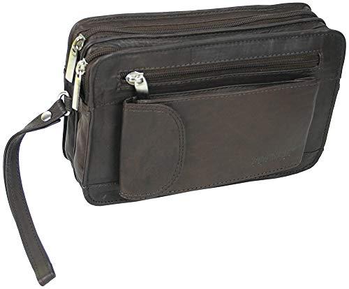 jejo-bags® Mäns läder handledsväska mäns handväska dokumentväska i 3 färger, - Rostfri - 21x14x7cm