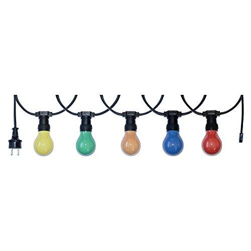 10m Illu Leitung Lichterkette für innen & außen inkl. 10 Fassungen + LED Leuchtmittel 3W = 25W E27 bunt