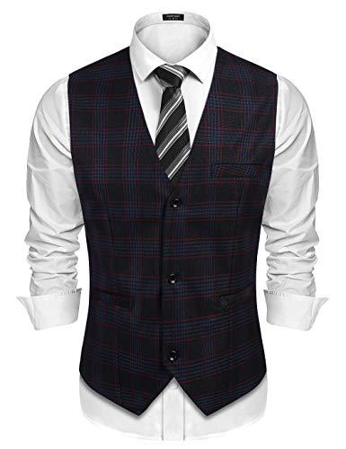 COOFANDY - Chaleco de traje para hombre, a cuadros, sin mangas, ajustado, para fiestas y bodas